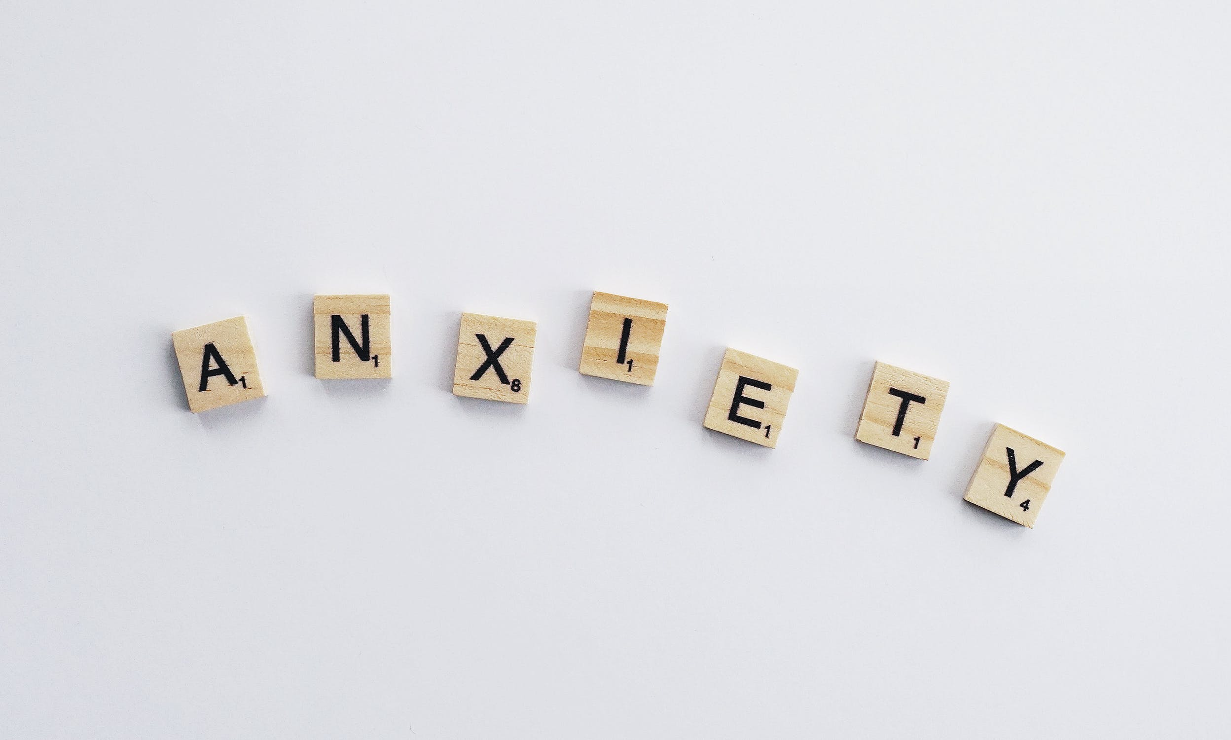Scrabble letters spelling out 'Anxiety'
