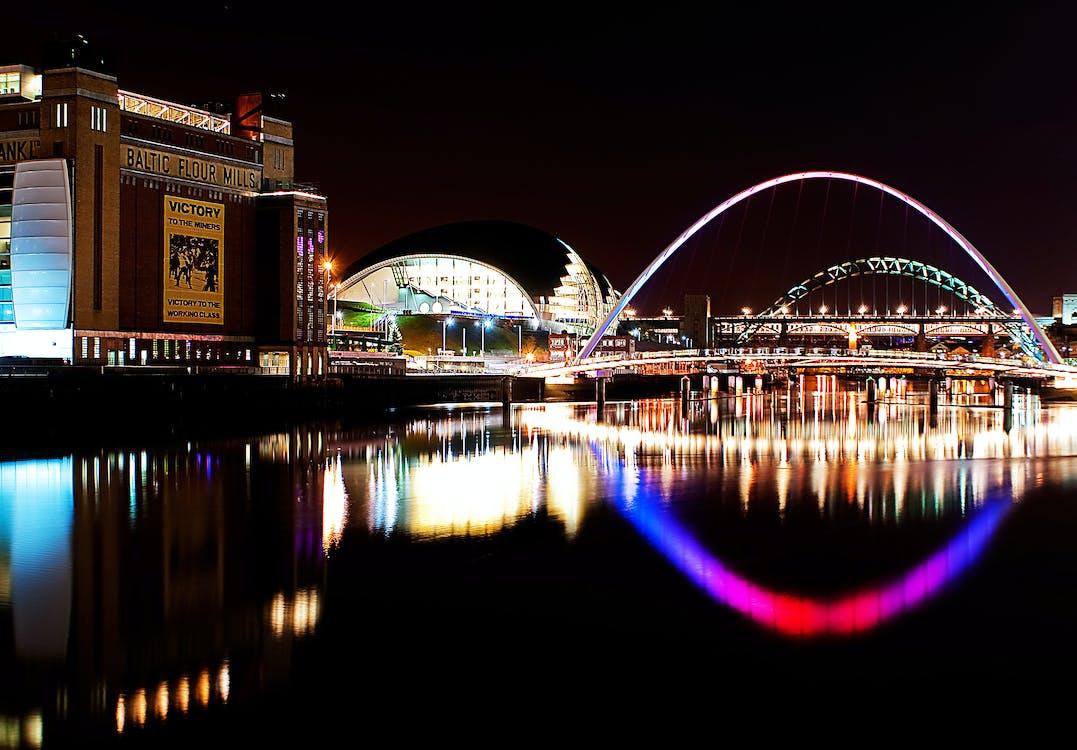 Building Beside Bridge at Night