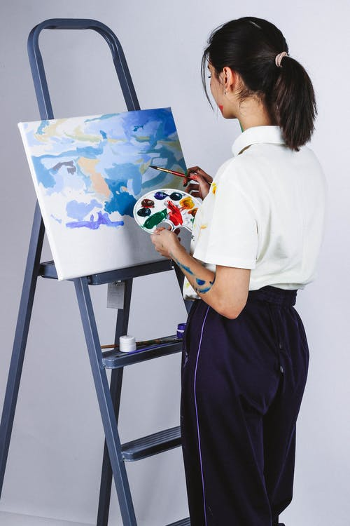 Back View Photo of Woman Painting