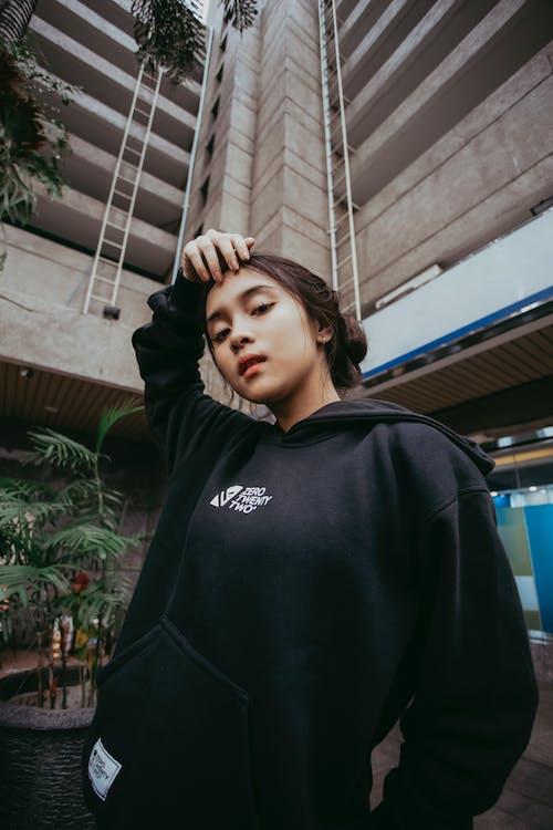 Photo Of Woman Wearing Black Hoodie