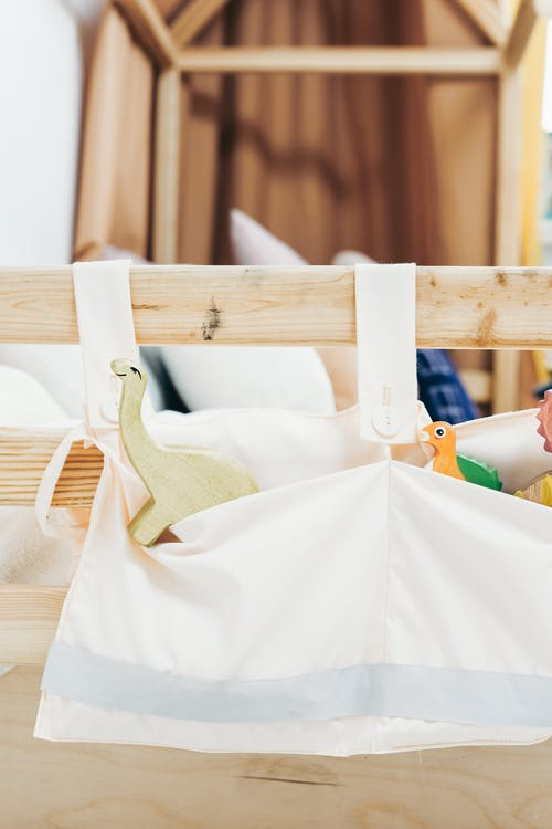 Wooden Bed Frame with Toys