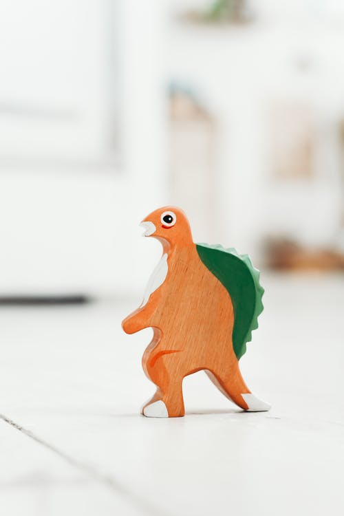 Orange and Green Wooden Dinosaur Toy