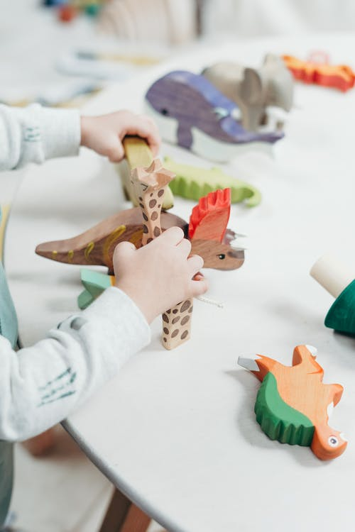 Child Holding Brown and Green Wooden Animal Toys