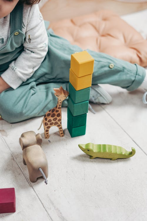 Kind In Witte Top Met Lange Mouwen En Tuinbroek Die Met Legoblokken Speelt