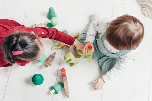 Crianças Brincando Com Brinquedos De Animais