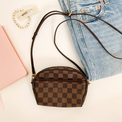 Brown and Black Checkered Handbag