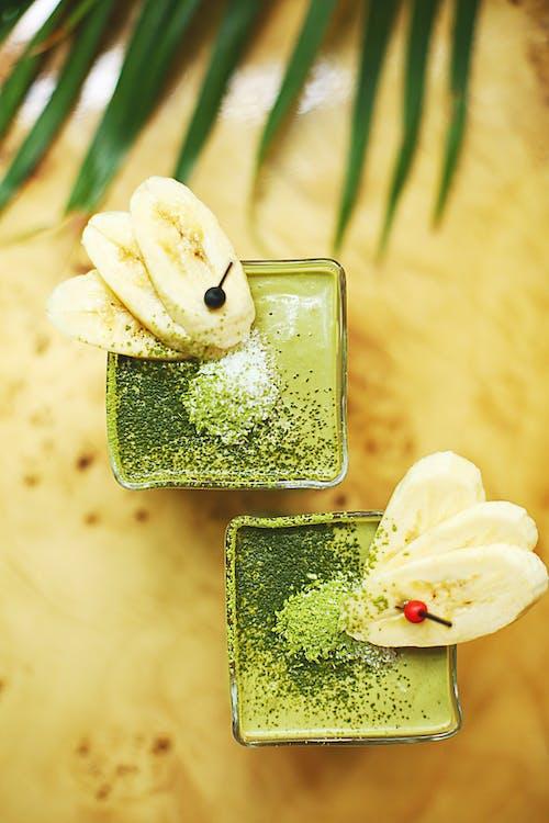 Foto d'estoc gratuïta de batut de fruites, batut matcha, batut verd, cru
