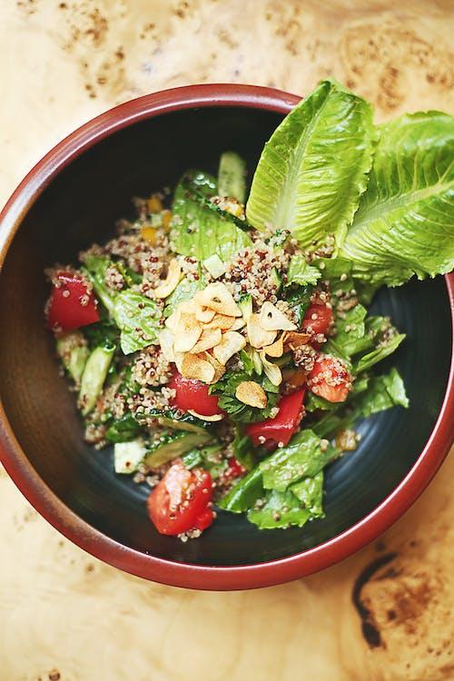 Sliced Vegetables in Blue Ceramic Bowl