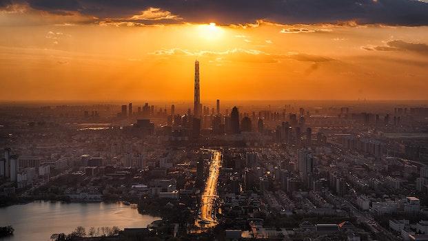 Free stock photo of city, dawn, sunset, skyline