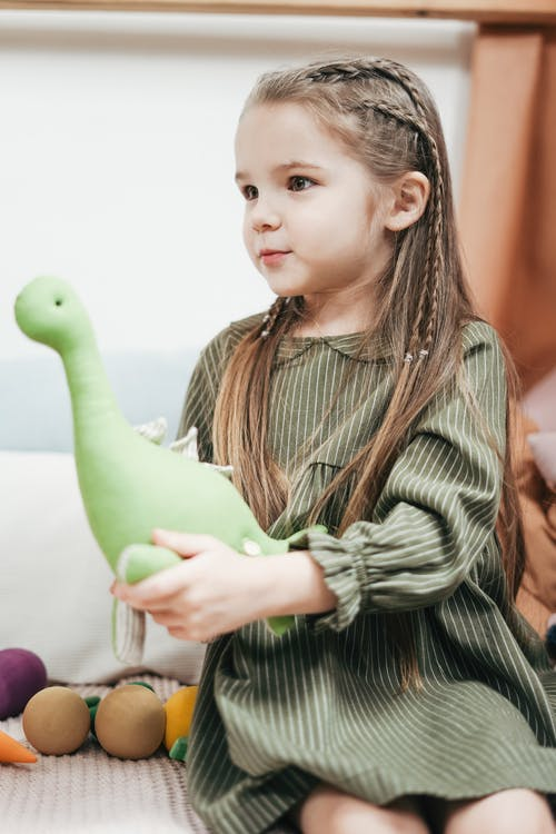 Girl Wearing Green Dress While Holding Stuffed Toy