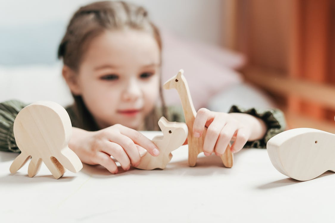 Girl with Wooden Toys