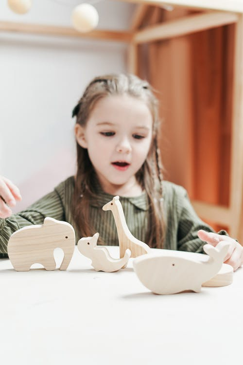 Girl Playing with Wooden Toy Animals