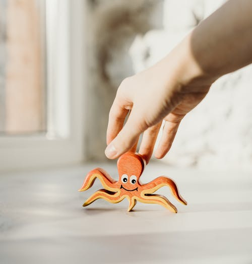 Orang Yang Memegang Mainan Kayu Gurita