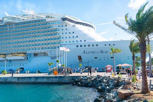 White Cruise Ship on Dock