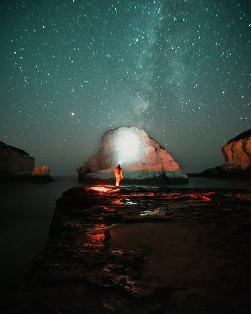 Person Standing on Rock Near Body of Water during Night Time