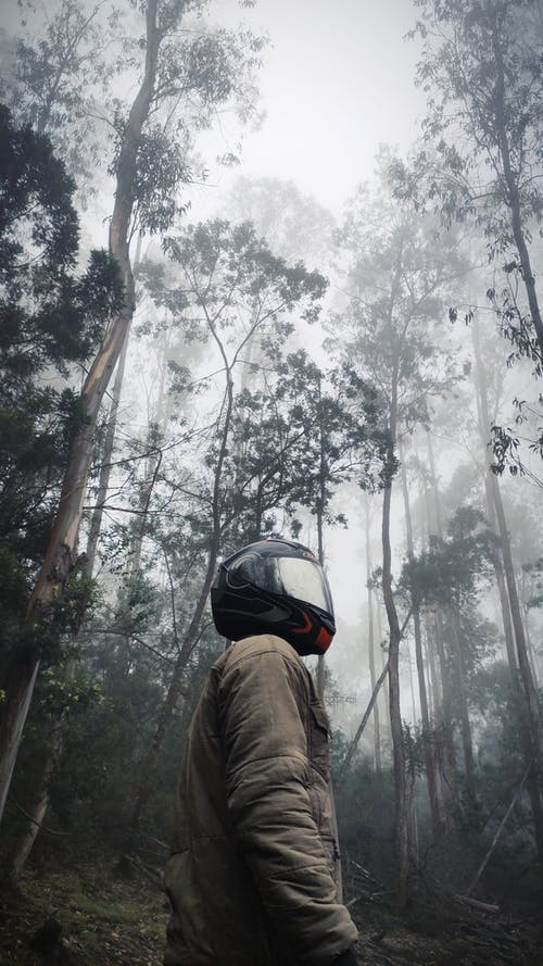 Person in Brown Jacket Wearing Helmet in Forest