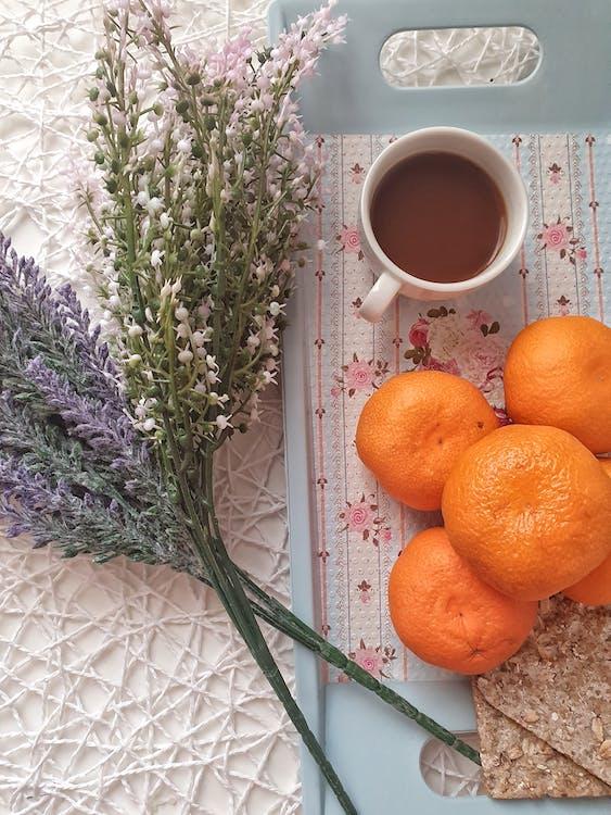 Fresh Fruit Orange Beside Porcelain Mug