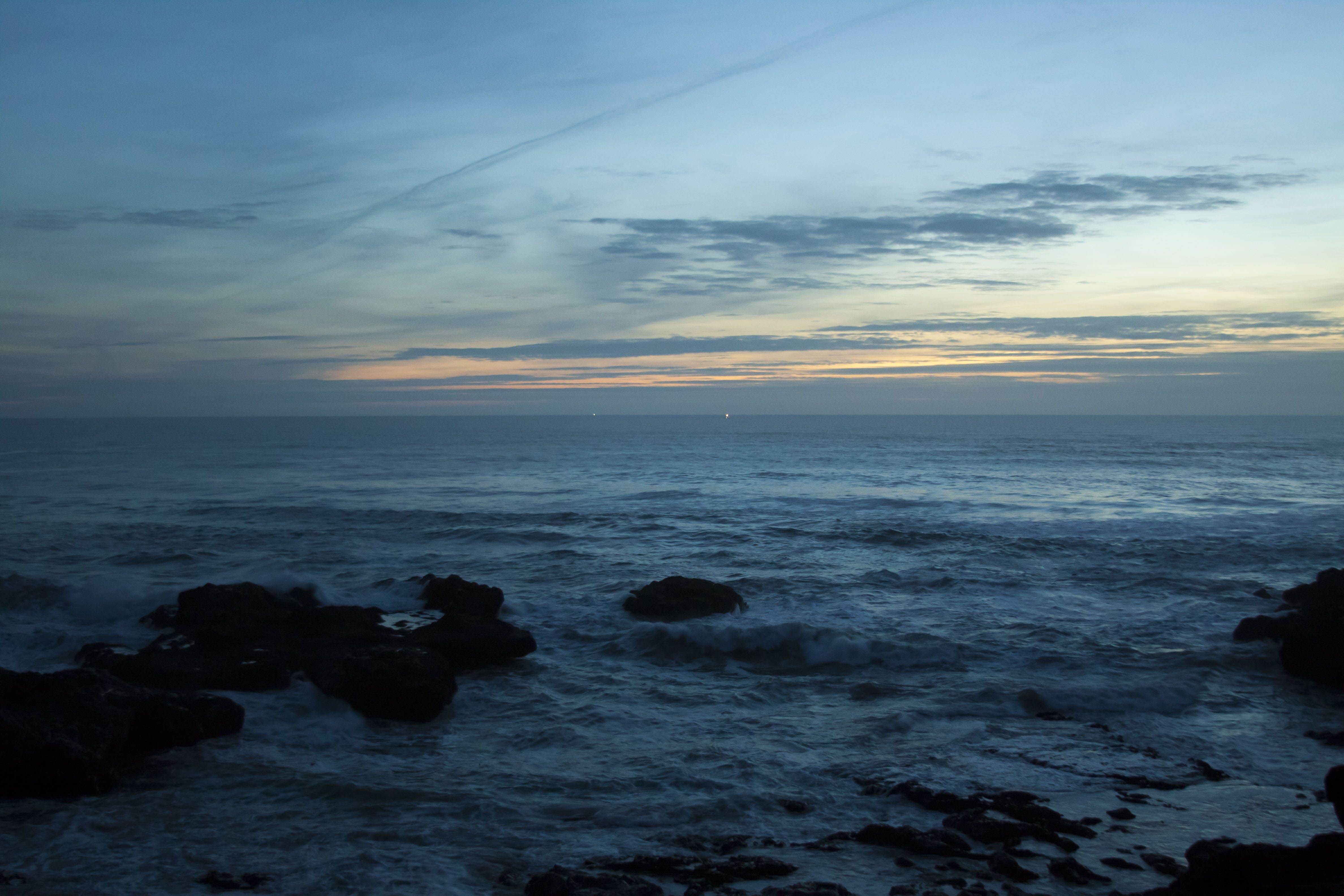 of beach, color, evening sun, rock