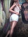 fashion, woman, graffiti