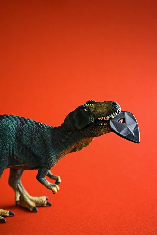 Side View Of Dinosaur On Orange Background