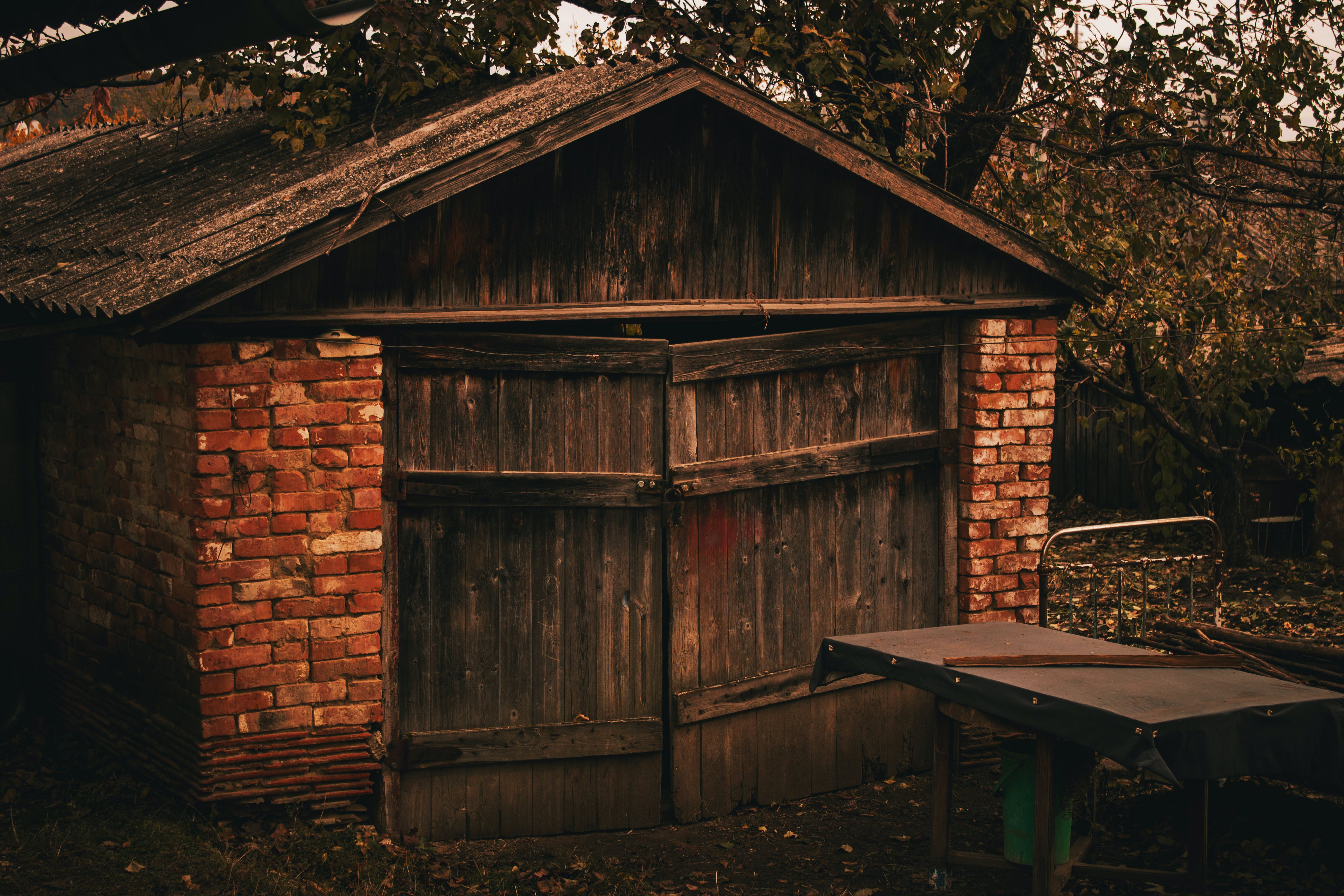 Free stock photo of country, garage, tree