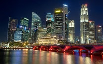 city, landmark, night