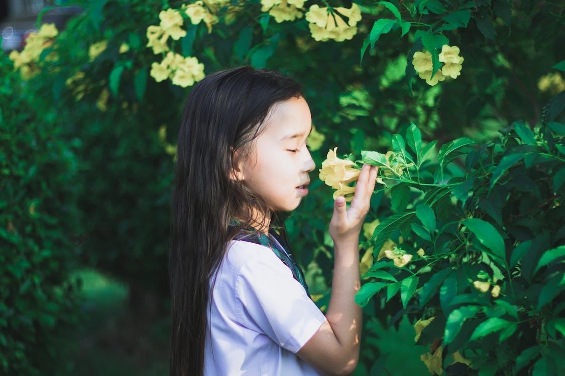 Menina De Camisa Branca Segurando Uma Flor Amarela