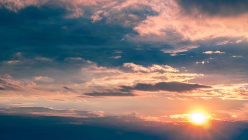 Бесплатное стоковое фото с закат, небо, облака, солнце