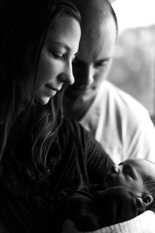 Grijswaarden Foto Van Vrouw Met Haar Baby