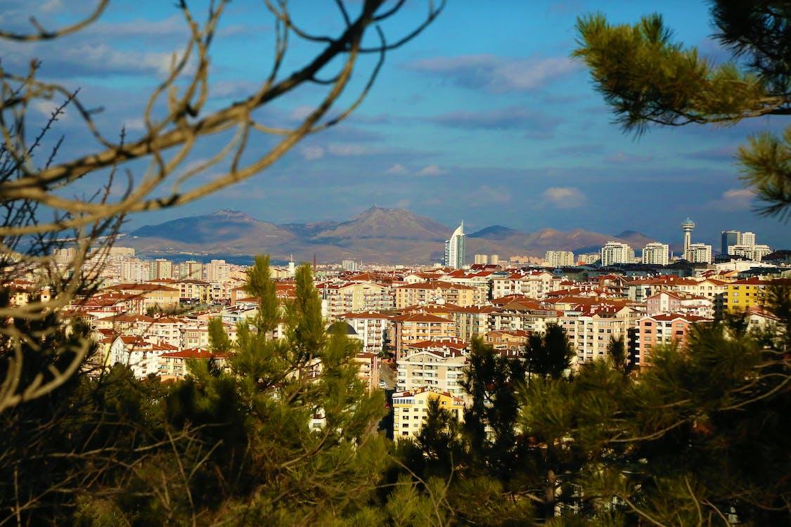 binalar, çevre, dağlar