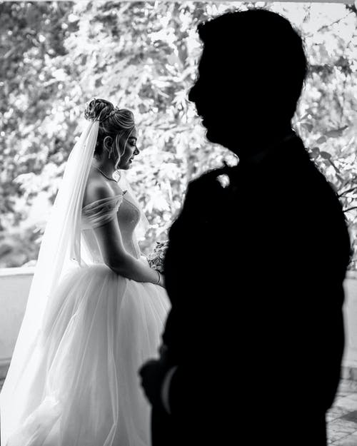 Grayscale Photo of a bride