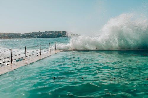 Sea Waves Crashing on Swimming Pool