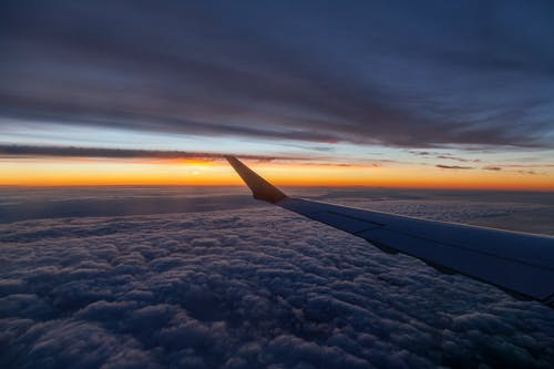 Free stock photo of aircraft wing, airplane, cloud