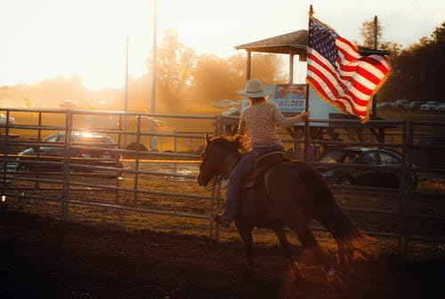Free stock photo of American flag, country, cowgirl, equine