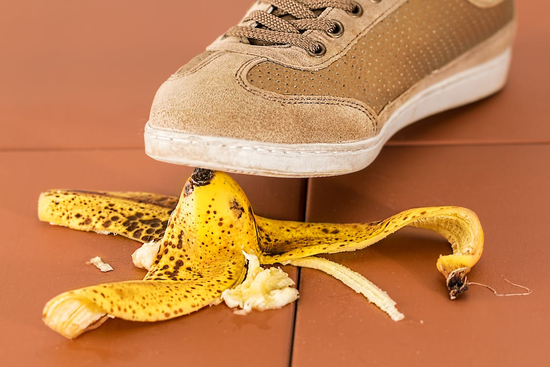 Person Stepping on Banana Peel