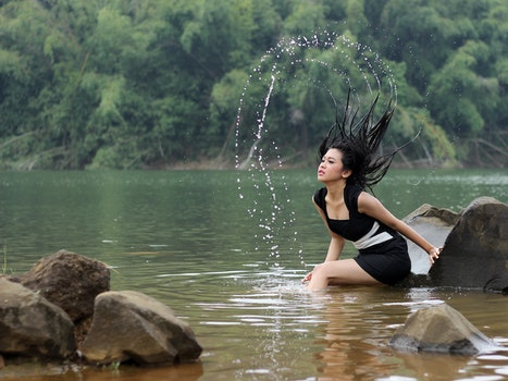 Free stock photo of fashion, woman, water, rocks