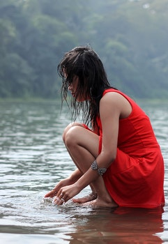 Free stock photo of red, woman, water, girl