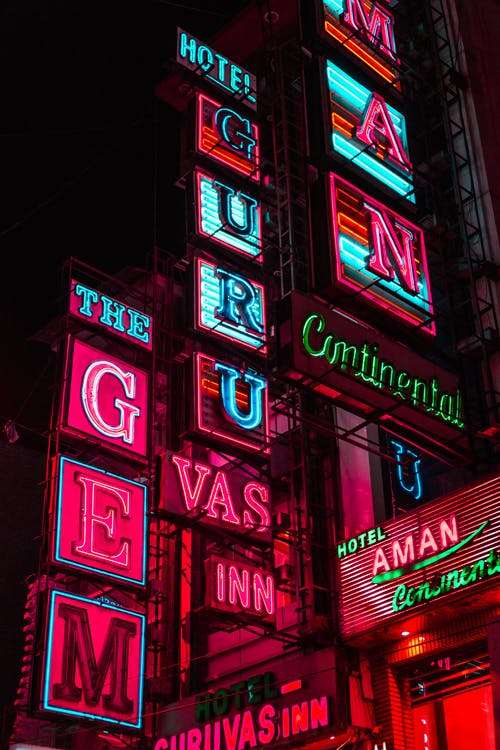 Colorful Hotel Building Led Signage in Night Time