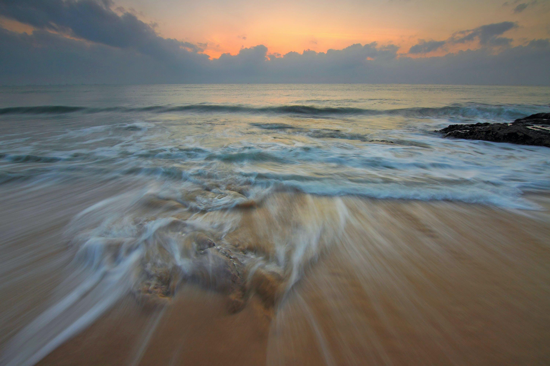 av bakgrundsbelyst, gryning, hav, havsområde