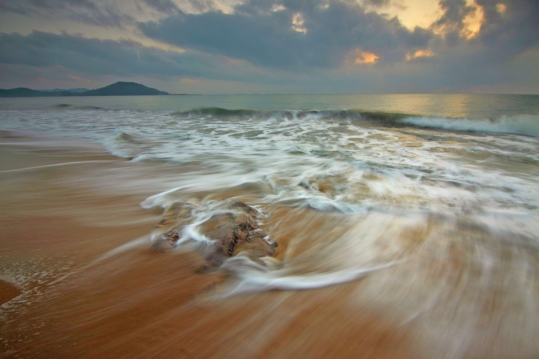 beach, dark clouds, dawn