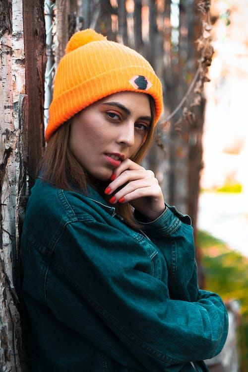 Woman in Blue Denim and Orange Bonnet  Portrait Photography