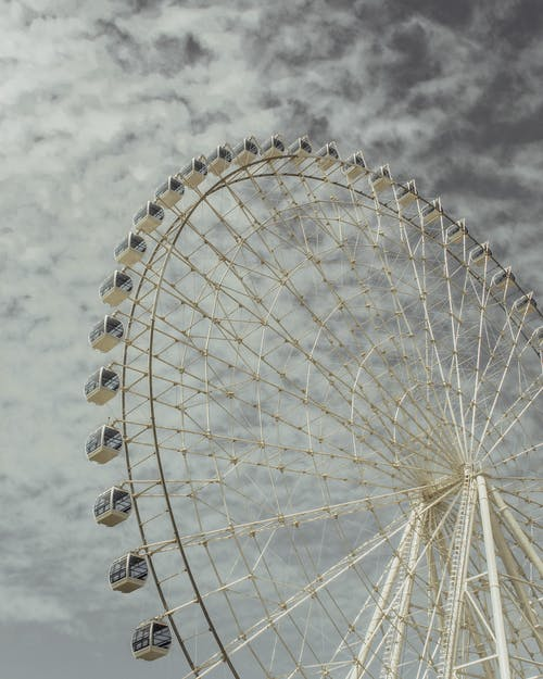 White Giant Ferris Wheel on Low Angle Shot