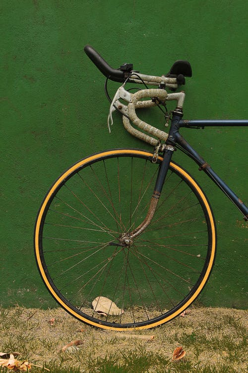 Black Bicycle Leaning on Green Wall