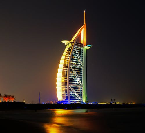 Architectural Building Lighted on Night Time