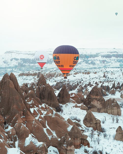 Three Hot Air Balloons in Frosty Weather