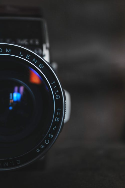 Black Camera Lens In Selective focus