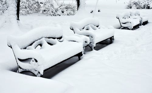 Snow Covered Bench on Snow Covered Ground