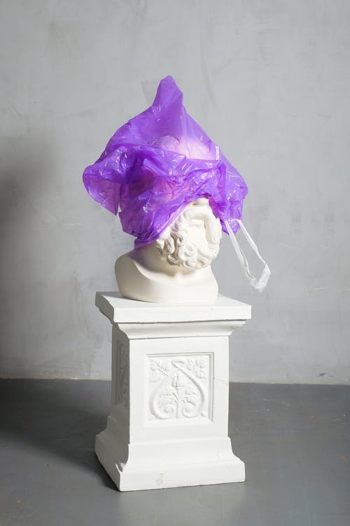 Violet Plastic Covered White Sculpture