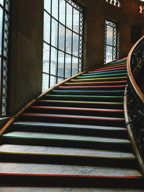 Multi colored Striped Stairs