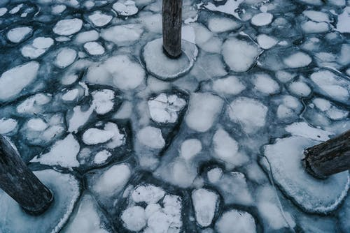 Frozen Water and Three Wooden Post